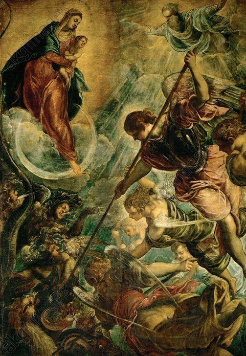 Tintoretto, Kampf Michaels mit Satan - Tintoretto / Fight of Michael with Satan - Tintoret, Jacopo Robusti, dit Le