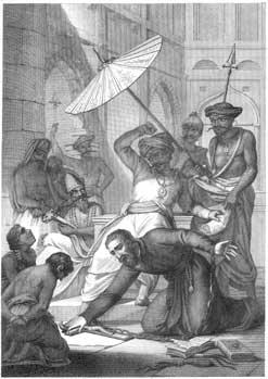 Jesuita ensinando indios brasileiros