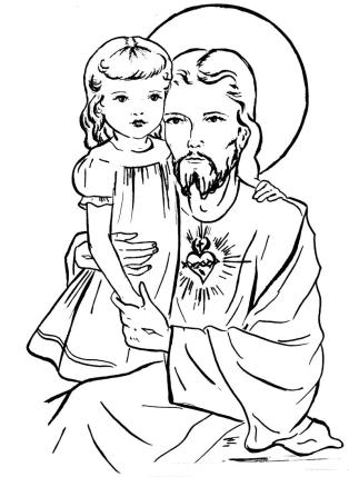 Sagrado Coração de Jesus com uma menina