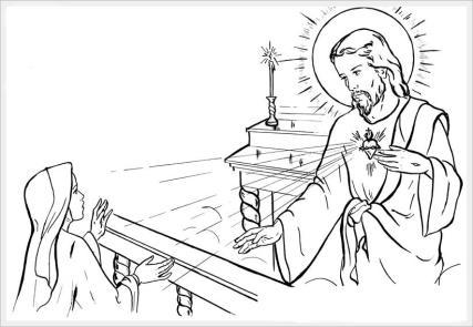 Sagrado Coração de Jesus com a religiosa