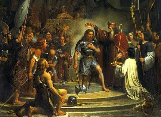O Batismo de Clovis, rei dos francos por François-Louis Dejuinne, 1837